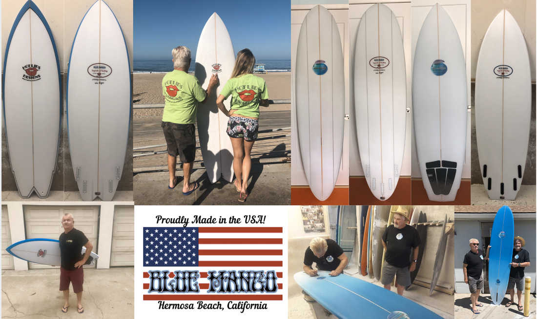 Blue Mango and Hot Lips Designs Surfboards